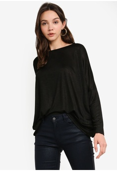 152a2cc147203 ZALORA BASICS black Basic Long Sleeves Wide Neck Top C545CAA3872B4BGS_1