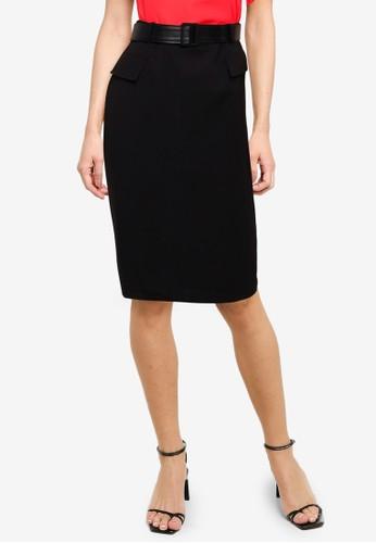 G2000 black Compact Knit Pencil Skirt 30039AAFE19D4EGS_1
