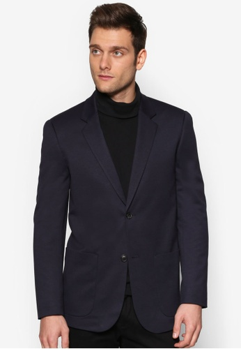 Topman blue Navy Relaxed Fit Suit Jacket TO413AA87NFCMY_1