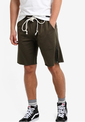 Flesh IMP green Metal Zip Detail Dicker Shorts FL064AA75NYQMY_1