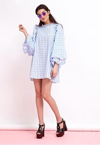 格紋寬袖esprit台灣官網洋裝, 服飾, 短洋裝