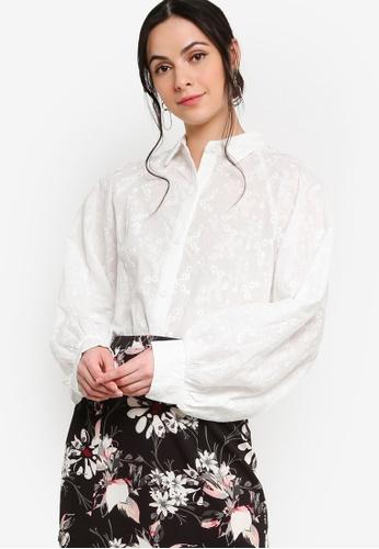 Zalia white Embroidery Batwing Puff Sleeves Shirt 1F65AAAC800A4EGS_1