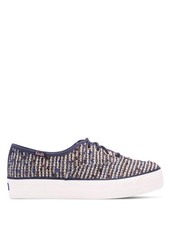 Keds blue Triple Metallic Boucle Sneakers KE942SH0S8VZMY_1