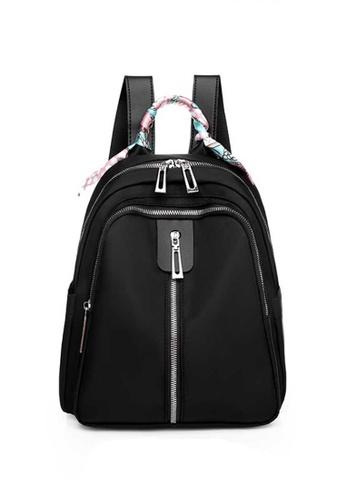 Lara black Women's Silk Scarf Handle Oxford Cloth Zipper Backpack - Black 43775AC56B6D08GS_1
