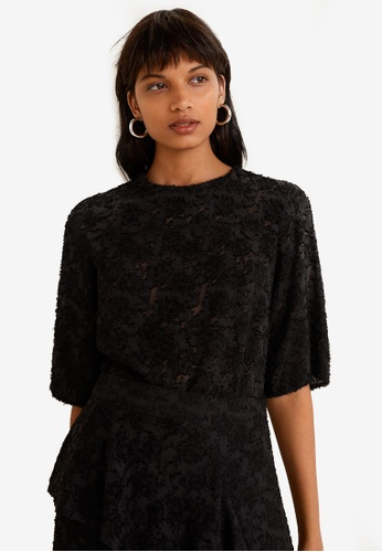Mango black Textured Jacquard Top 5088CAA77E9D08GS_1