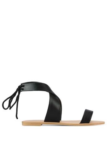 ZALORA black Cross Strap Sandals 1FCCDSH4E0AC7AGS_1
