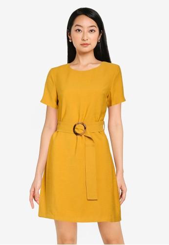ZALORA BASICS yellow Mini Sheath Dress With Belt 834D9AA2DE00D9GS_1