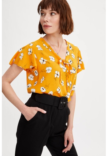 DeFacto yellow Woman Woven Top Short Sleeve Blouse 29A42AA9F2CFB5GS_1
