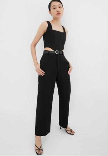 Pomelo black V-Shaped High Waist Pants - Black ECA69AAEB7539FGS_1