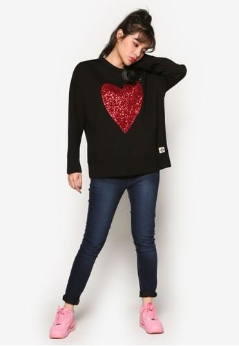 閃飾心形圖案長袖衫,esprit童裝門市 服飾, 外套