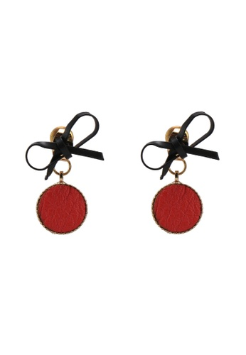Red's Revenge multi Ribbon & Pu Medallion Stud Earrings 341D4ACA45B8B0GS_1