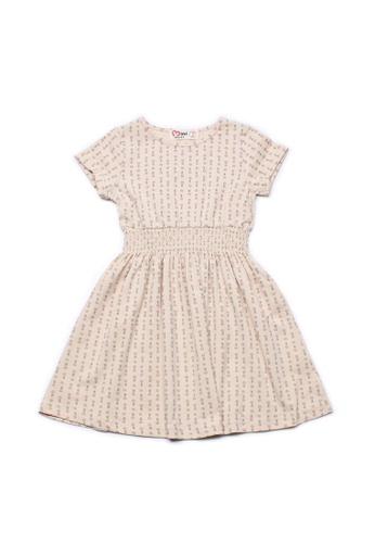 Mini Moley beige Design Print Girl's Skater Dress 849BEKA1F51FE2GS_1