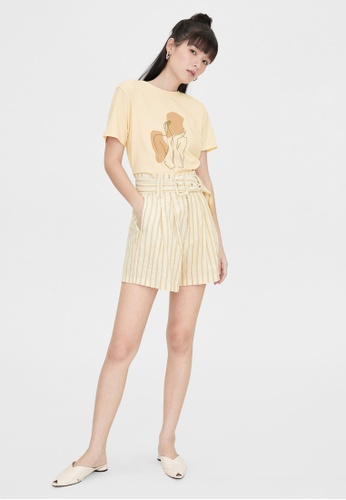 Pomelo yellow Paper Bag Striped Belt Shorts - Yellow EE441AABA6B417GS_1