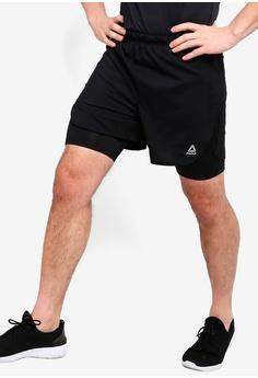 a73da35d0ee6f Reebok black Run Essentials Two-in-One Shorts 19AF8AA3EC98E3GS 1