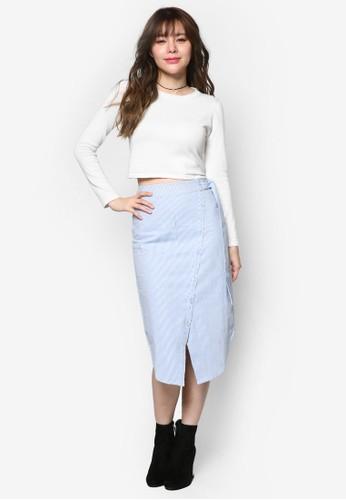 條紋不對稱裙擺及膝esprit台灣outlet裙, 服飾, 裙子