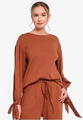 Lubna 褐色 Jersey Puff Sleeve Sweater E0814AA2FDEF90GS_1
