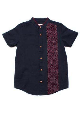 Mini Moley navy Oriental Rings Print Mandarin Collar Boy's Short Sleeve Shirt 8A531KA9964C7DGS_1
