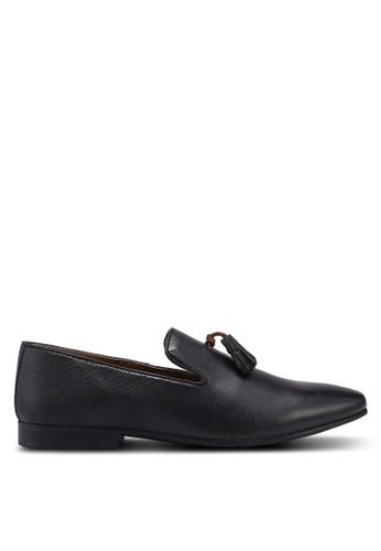 Burton Menswear London black Black Leather Tassel Loafers E8CD3SH5DA0608GS_1
