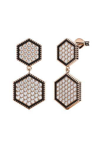 LOVE AND LIFE gold Love & Life Hexagon Duo Earrings (Rose Gold) embellished with Crystals from Swarovski CD5E2AC079AEFEGS_1