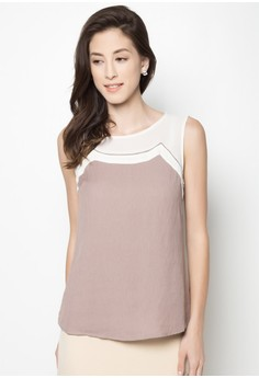 Sheer Detail Sleeveless Top