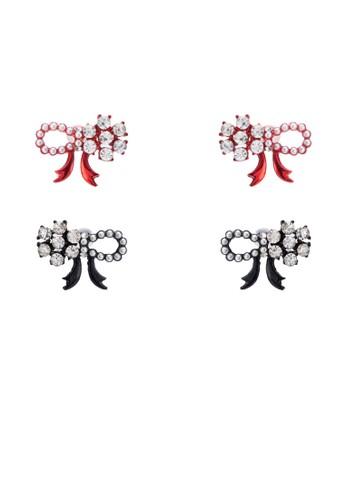 二入水鑽蝴esprit tw蝶結造型耳環, 飾品配件, 飾品配件