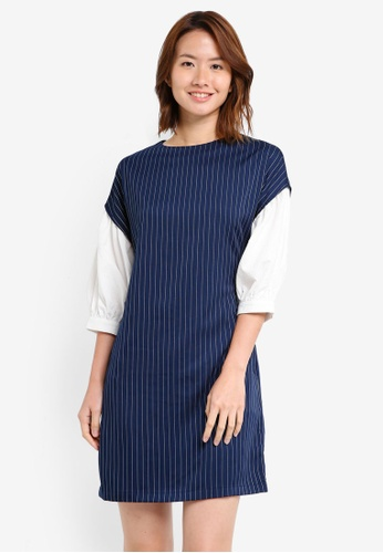 ZALORA navy Balloon Sleeve Shift Dress D0B0CAA655D270GS_1