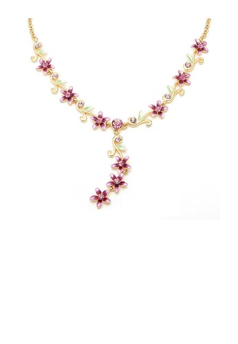 Glamorousky pink Purple Flowers Golden Necklace with Austrian Element Crystals 24081AC7C071E7GS_1