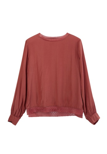 Giordano Ladies red Sheer Neck Trim Blouse 2A13CAA318389DGS_1