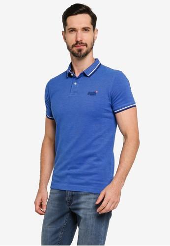 Superdry blue Organic Cotton Classic Poolside Pique Polo Shirt - Vintage Logo Emblem 6EF95AAFDF96C6GS_1