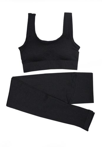 Twenty Eight Shoes black VANSA Pure Color Vest Yoga Set VPW-Y555 60959AAD53B55FGS_1