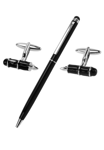 CUFF IT black Black Pen Cufflinks and Pen Set 471B3ACDC8DFE1GS_1