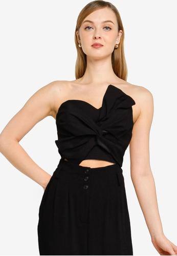 Miss Selfridge black Black 80s Bow Bralet 4A847AACF02B44GS_1
