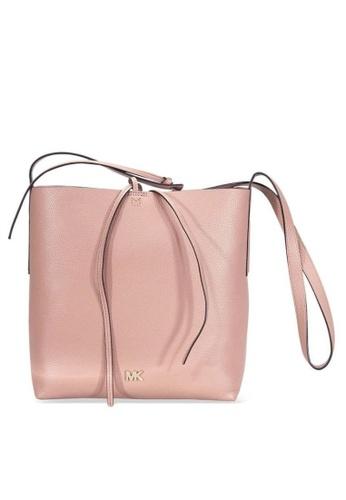 MICHAEL KORS brown Michael Kors Junie Large Pebbled Leather Messenger Bag - Fawn 30T8TX5M3L-133 AD0E2AC4984A0EGS_1