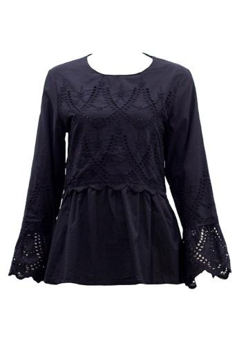 Ashura black Mareena Blouse With Embroidery Motif 6F08BAA7F184D9GS_1