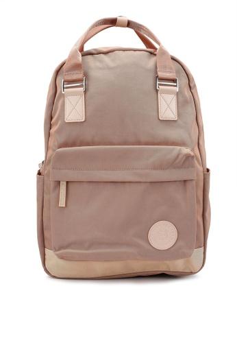 Bagstationz pink Colour Block Top Handle Backpack D85BAAC787BD9EGS_1