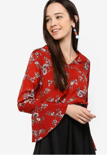 Something Borrowed red Flare Sleeves Boxy Top 074E3AA51B630EGS_1