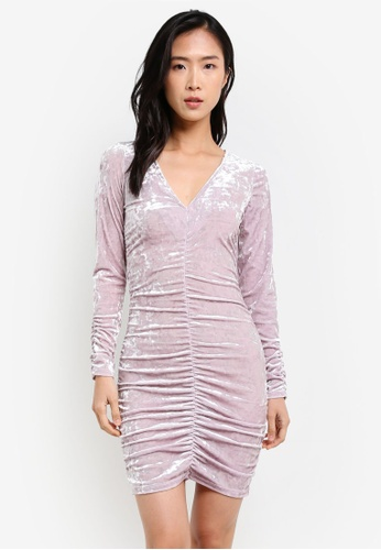 Miss Selfridge purple Lilac Velvet Big Sleeve Bodycon Dress MI665AA0S2KTMY_1