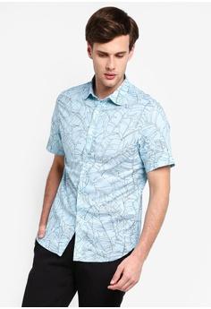ec4df8d6 Banana Republic green and blue Short Sleeve Cotton Lawn Leaf Print Shirt  F47C0AAF7E9C94GS_1
