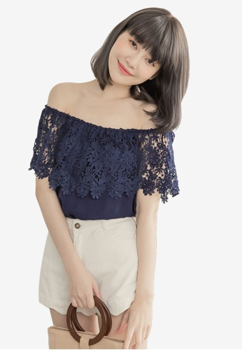 Eyescream blue and navy Lace Off Shoulder Top 000BAAA56BAB6FGS_1