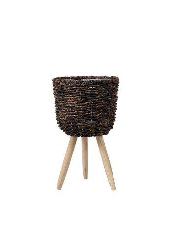 Propstation Woven Rattan Dark Brown Straw Basket Stand Planter - 42cm 87C65HL58CBF7AGS_1