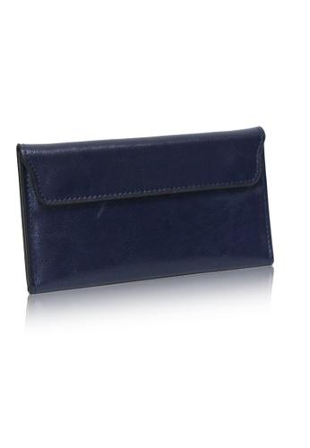 Dazz blue Calf Leather Flap Magnetic Wallet - Blue DA408AC0SIG1MY_1