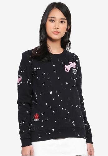 Superdry black Harriet Patch Crew Sweater 302ADAA93167FCGS_1