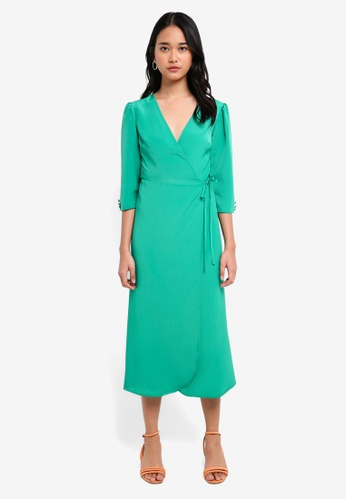 TOPSHOP green Crepe Wrap Midi Dress C9DFDAA2A273D9GS_1