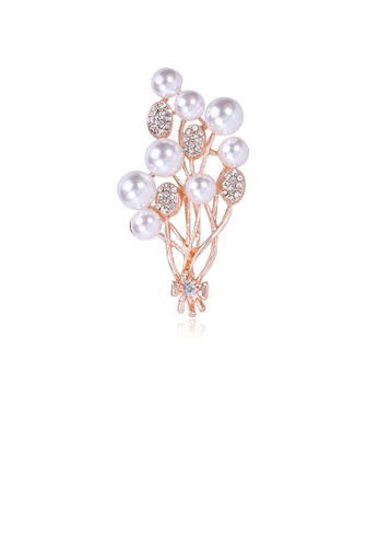Glamorousky white Fashion and Elegant Plated Gold Floral Imitation Pearl Brooch with Cubic Zirconia C31CEAC5D8442BGS_1