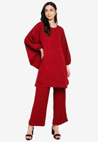 Butik Sireh Pinang red Zalikha Blouse Suit Kaftan EE905AA56BE238GS_1