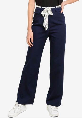 ZALORA BASICS navy Scarf Belt Straight Leg Pants 35C94AA8BBAA7CGS_1