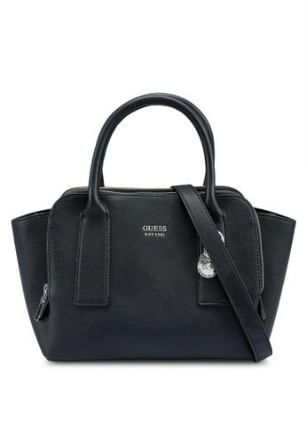 Guess black Little Paris Tri Compartment Satchel Bag E9D69AC3AF0532GS_1
