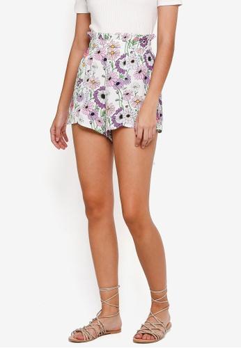 TOPSHOP white Floral Frill Shorts 7DE98AA7680E8BGS_1