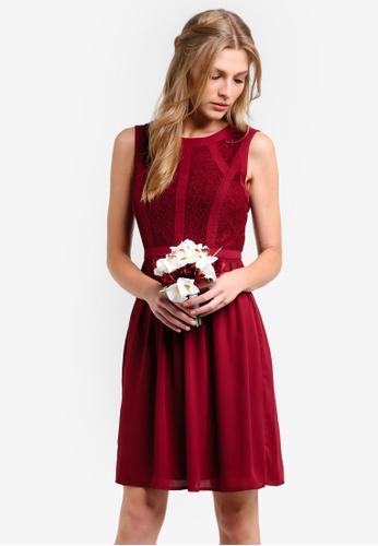 ZALORA red Bridesmaid Lace Panel Fit & Flare Dress 70BA8AACF5865DGS_1