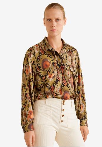 6bf27d15758 Mango brown Buttoned Printed Shirt 67E30AA0B09003GS 1